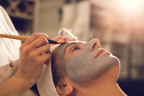 face mask - chemical peel stock pictures, royalty-free photos & images