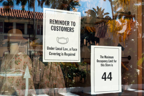 Face mask required and maximum occupancy sign stock photo
