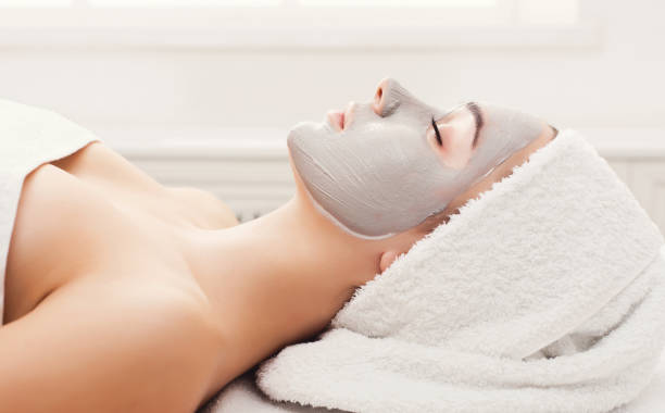 Face mask, spa beauty treatment, skincare stock photo