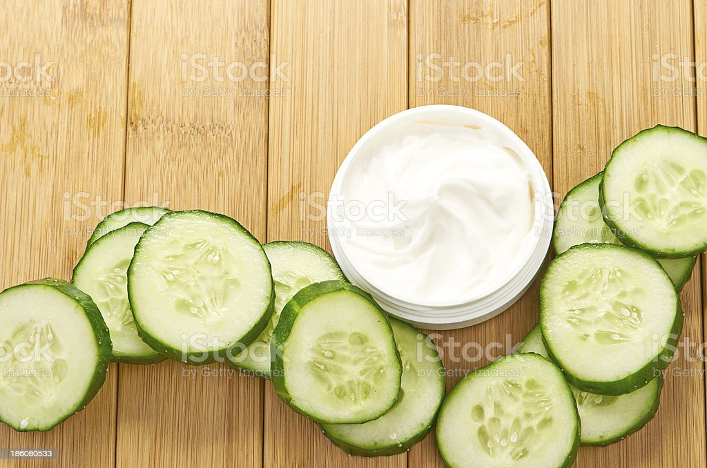 face mask with cucumber slices royalty-free stock photo