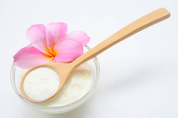 Face Mask Yogurt natural spa treatments for skin. stock photo