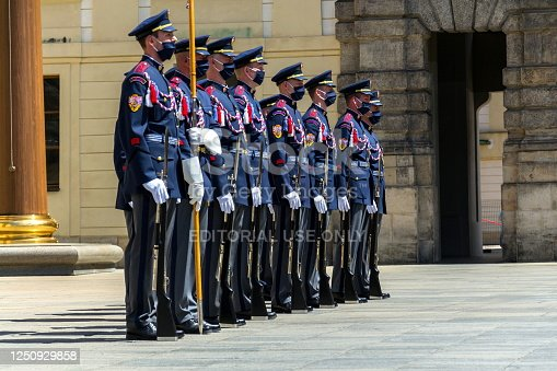 Prague, Czech republic - June 2, 2020: Face masks on soldiers in front of the Prague Castle during Changing of the Guard, coronavirus covid-19 pandemic outbreak on June 2, 2020 in Prague, Czech republic.