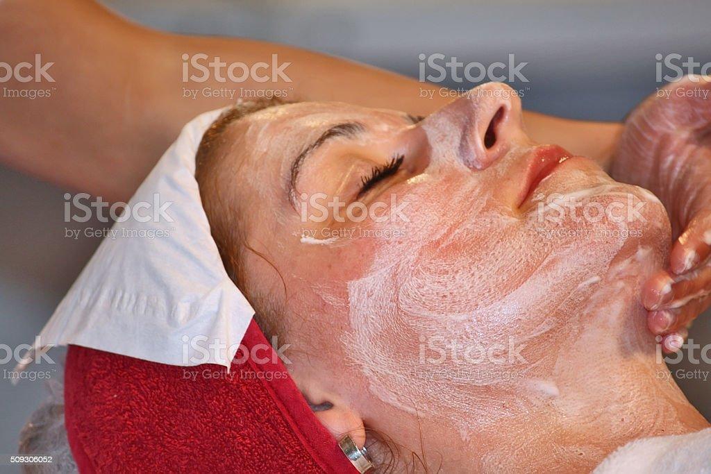 Face massage stock photo