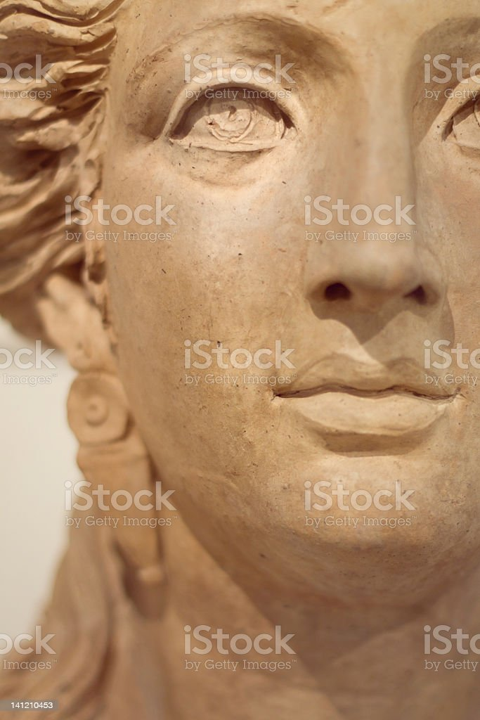Face of a ancient roman woman stock photo