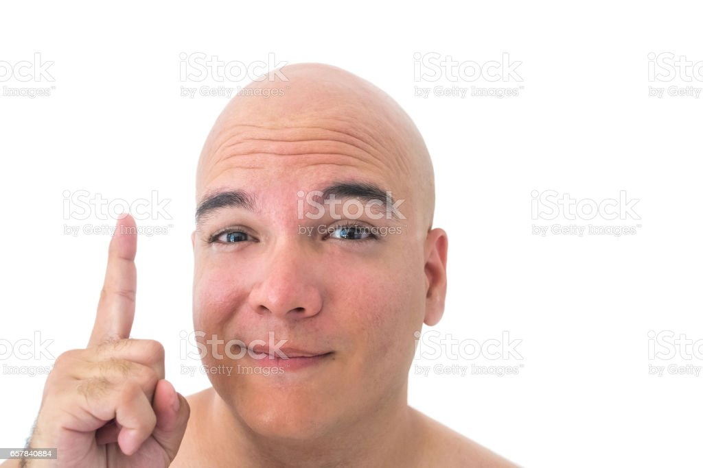 Face of a bald man isolated with white background stock photo