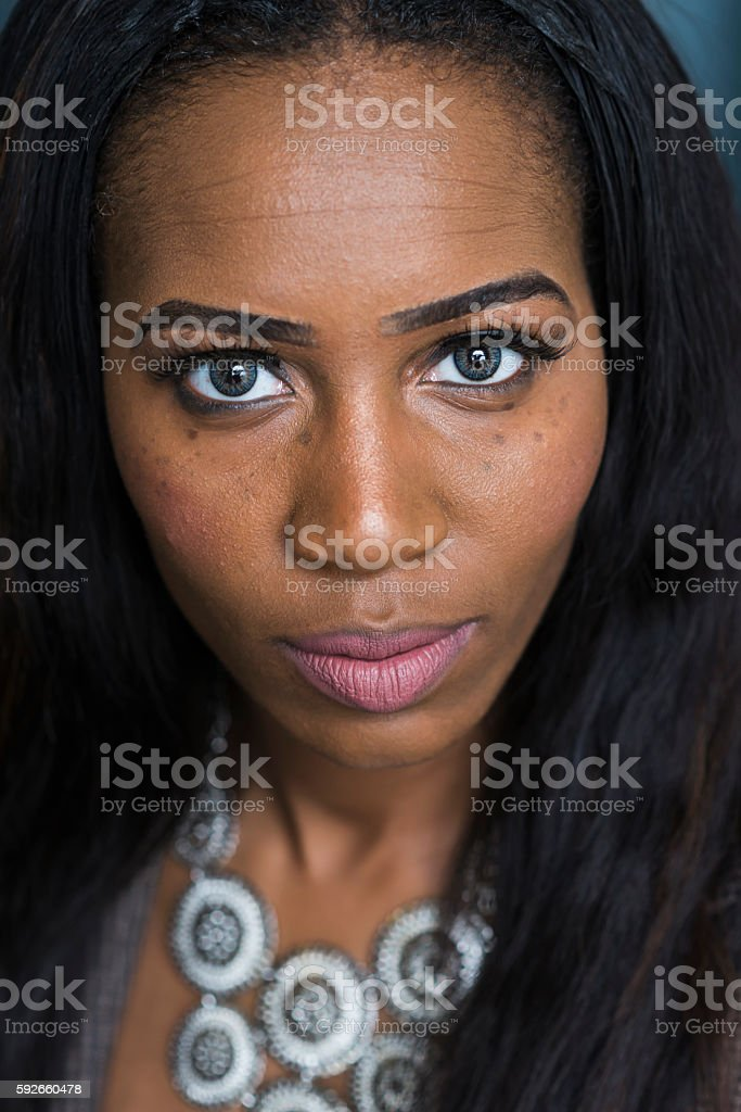 Face of a beautiful young African American woman stock photo