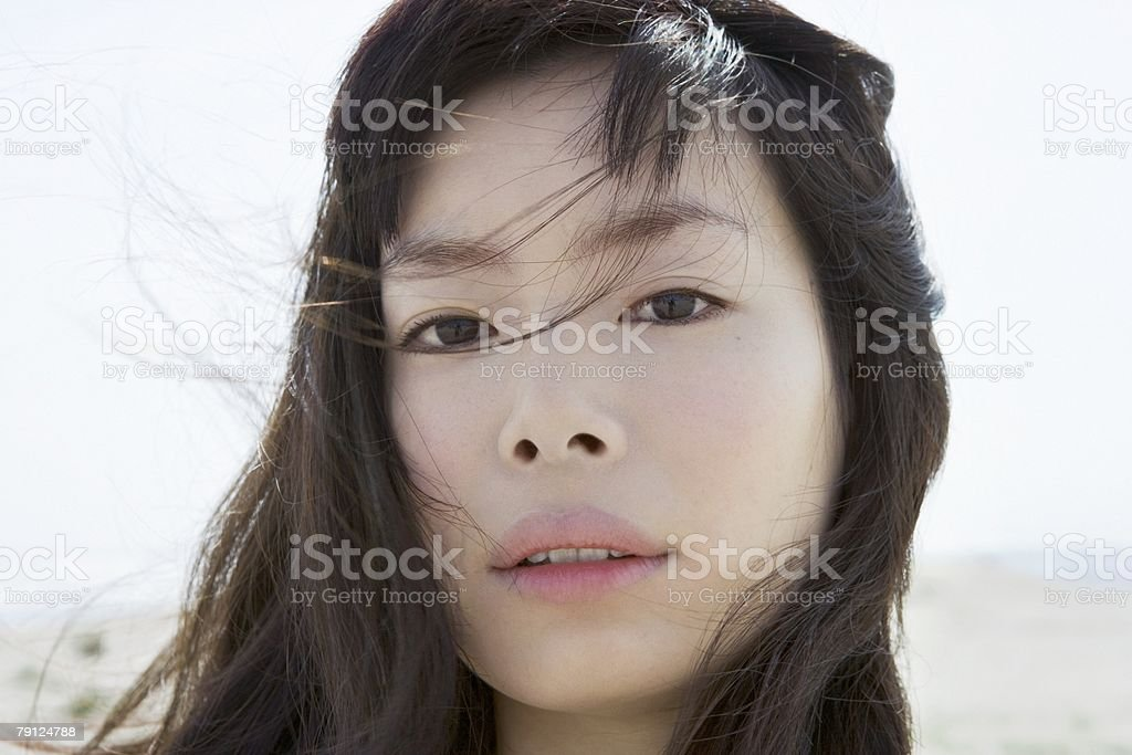 Face of a windswept woman royalty-free 스톡 사진