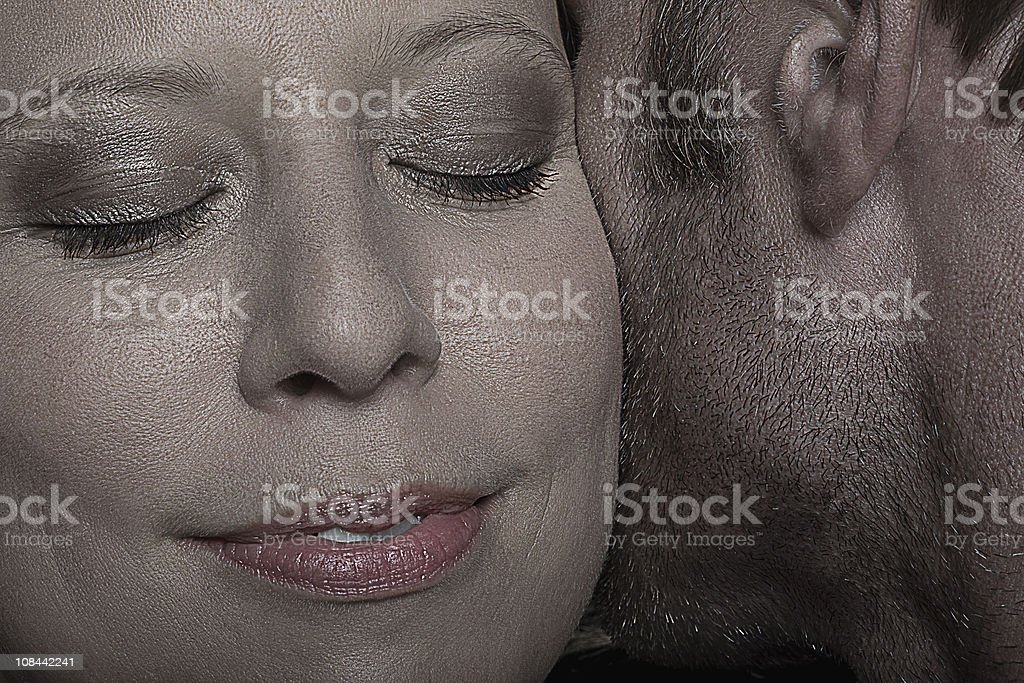 Face of a woman close to a man stock photo