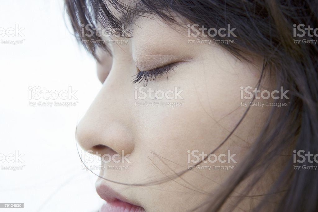 Face of a woman with eyes closed royalty-free 스톡 사진