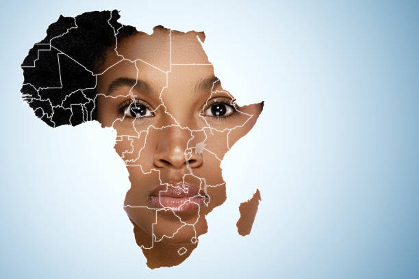 Face of African woman inside the map of Africa stock photo