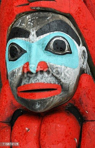 istock Face of an Alaskan totem pole. 115874178