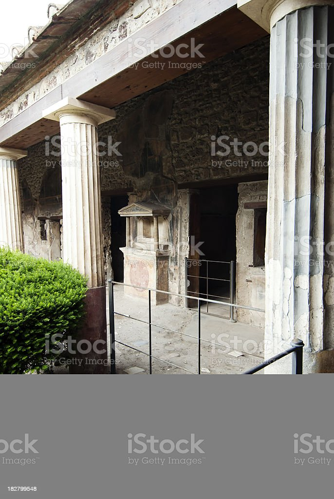 Face of ancient god Apollo in Pompeii stock photo