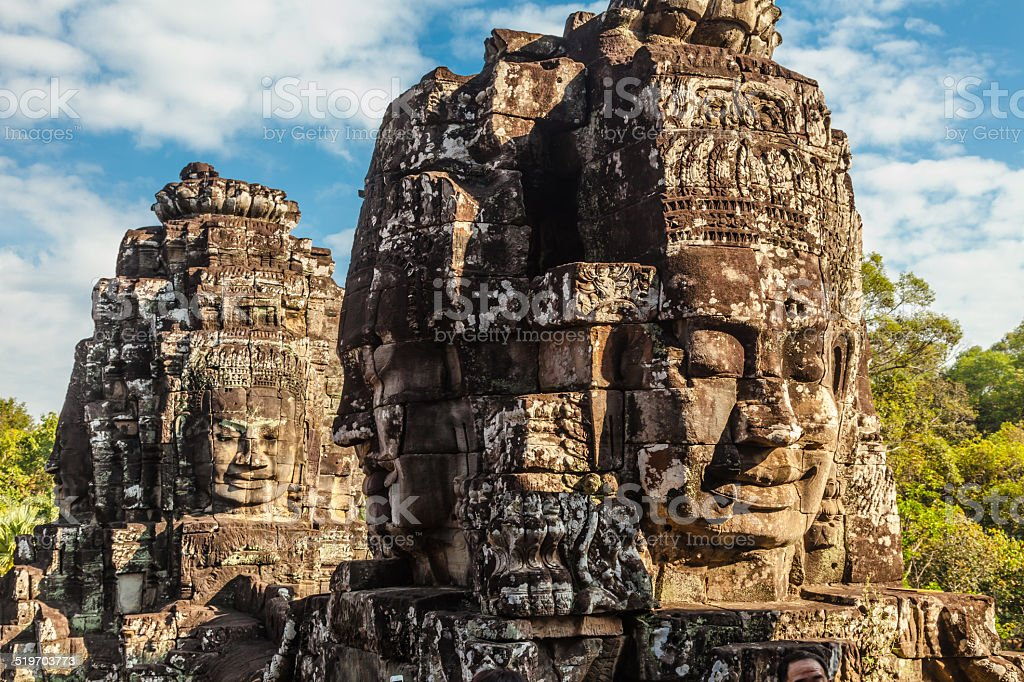 Face of Bayon Castle, Angkor Thom. stock photo