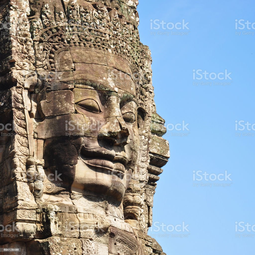 Face of Bayon temple in Angkor Thom stock photo