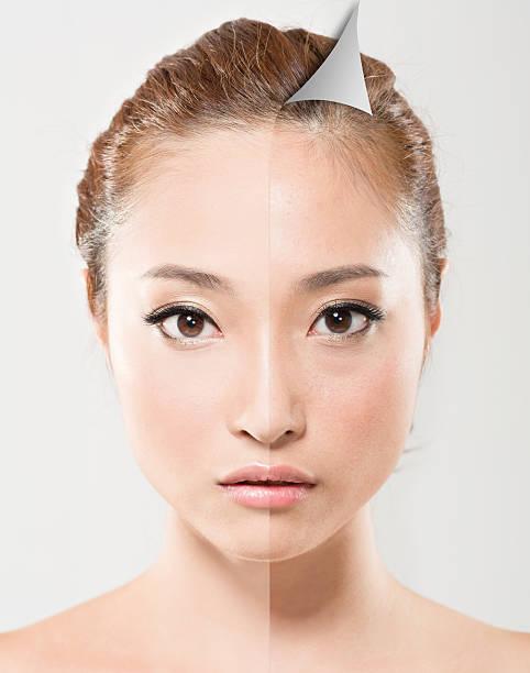 Face of beautiful Asian stock photo