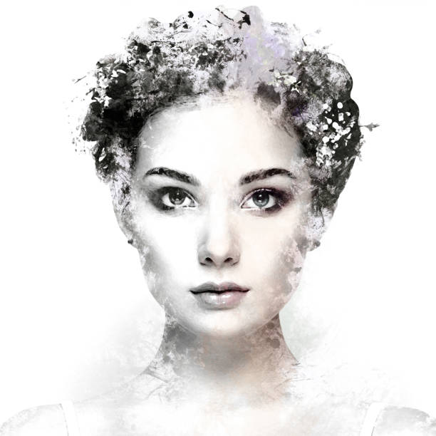 face of beautiful woman decorated with flowers - illustrations stock photos and pictures