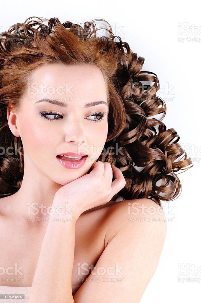 Face of  beautiful young woman stock photo