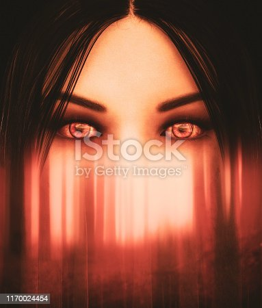 istock Face of ghost woman in haunted forest,3d illustration for book cover design 1170024454