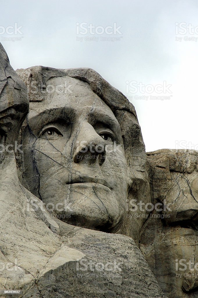 Face of Jefferson on Mount Rushmore - Royalty-free Black Color Stock Photo