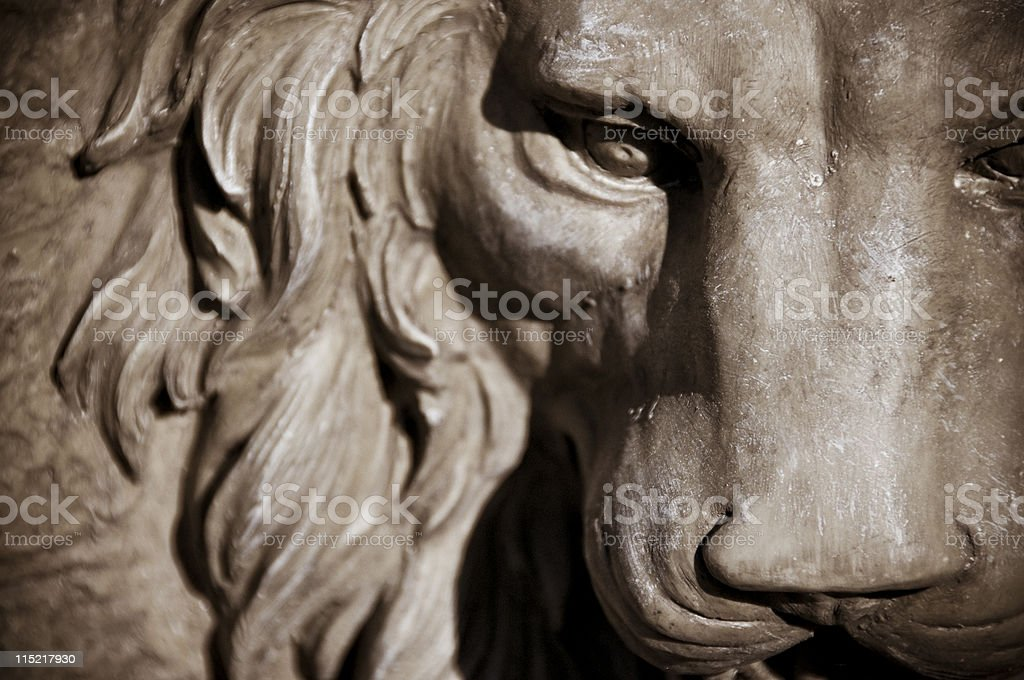 Face of lion statue Close Up stock photo