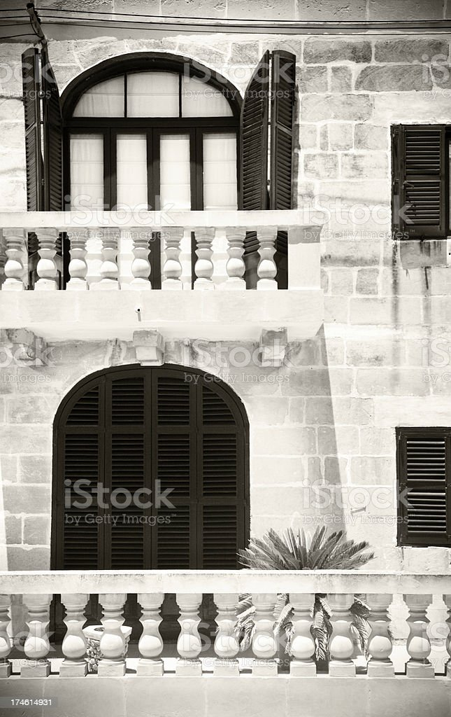 Face of Maltese Building, close-up B/W stock photo
