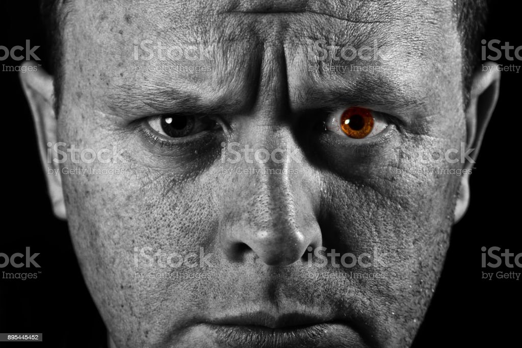 Face of man closeup with different textures in black and white stock photo