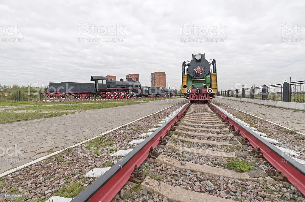Face of old multicolored steam locomotive royalty-free stock photo