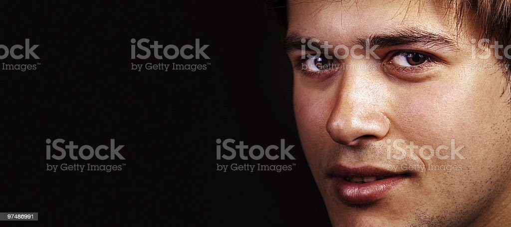Face of one handsome friendly man with copy space royalty-free stock photo