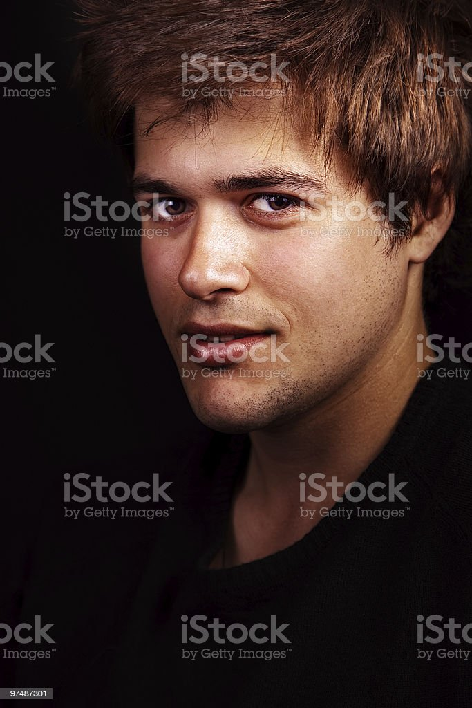 Face of one handsome sexy young man royalty-free stock photo
