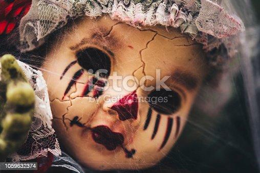 Head of beautiful scary doll like from horror movie