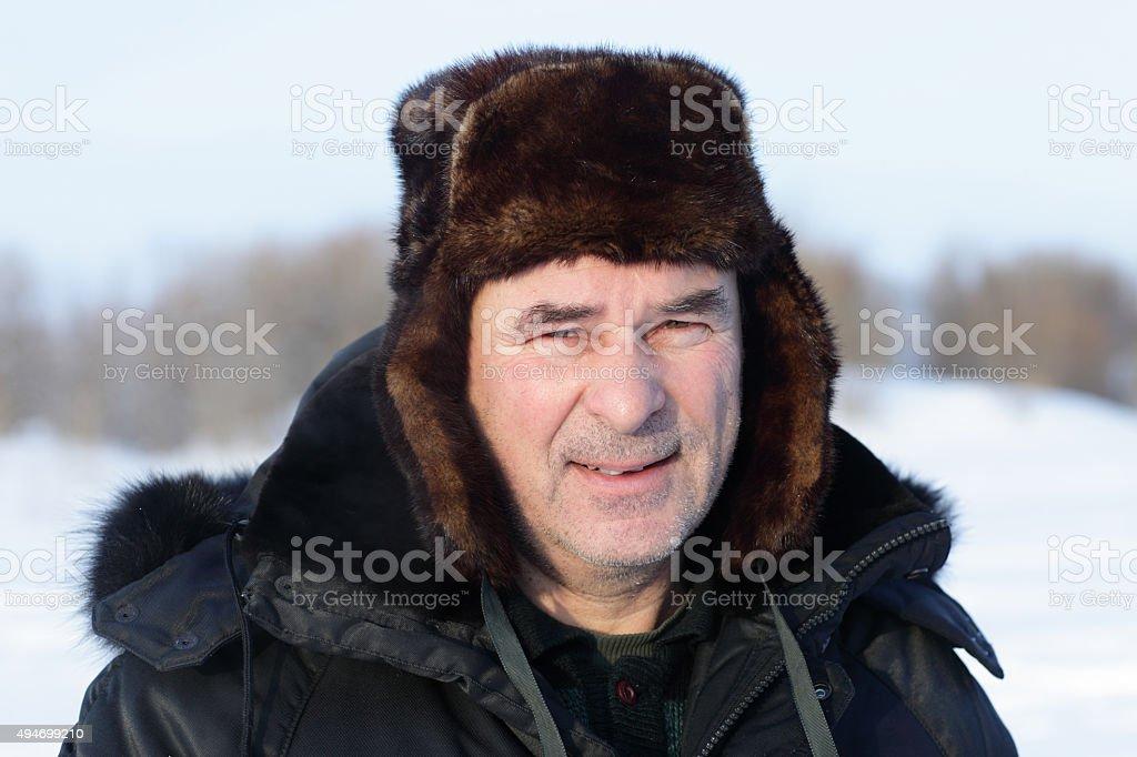 Face of senior man stock photo