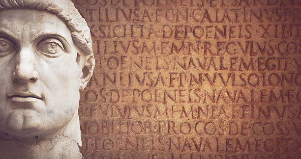 Face of the Emperor Constantine and latin script Face of the Emperor Constantine  ancient rome stock pictures, royalty-free photos & images