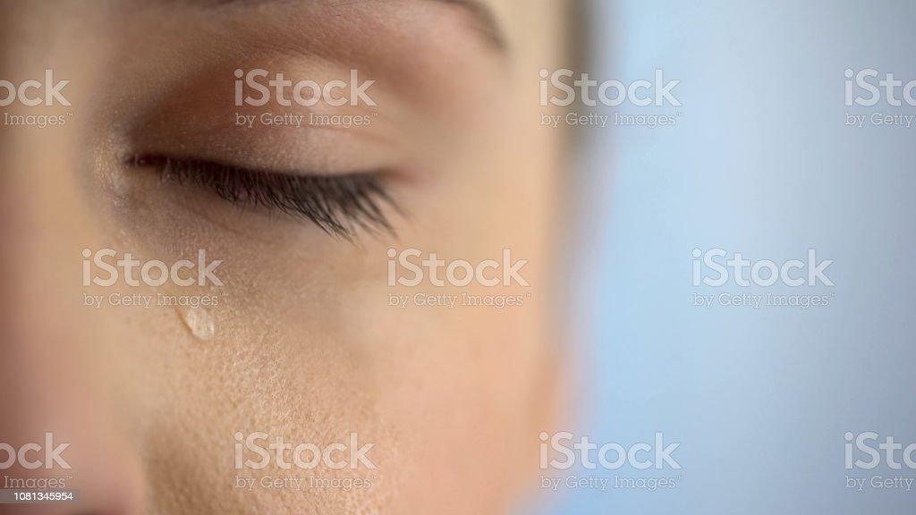 Gesicht der unglückliche Weinen, Nahaufnahme Auge mit Tränen, Leben Probleme Angst – Foto