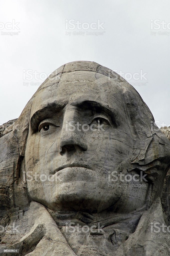 Face of Washington on Mount Rushmore - Royalty-free Black Color Stock Photo