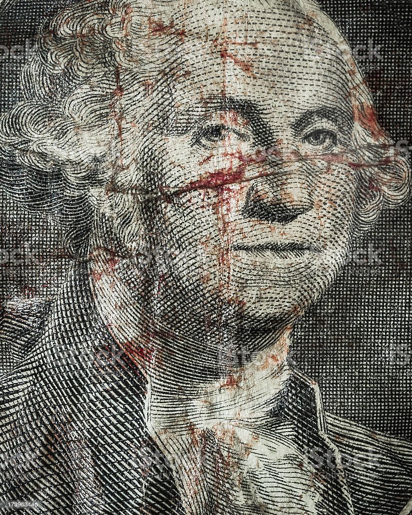 Face of Washington with blood - $1 Bill stock photo