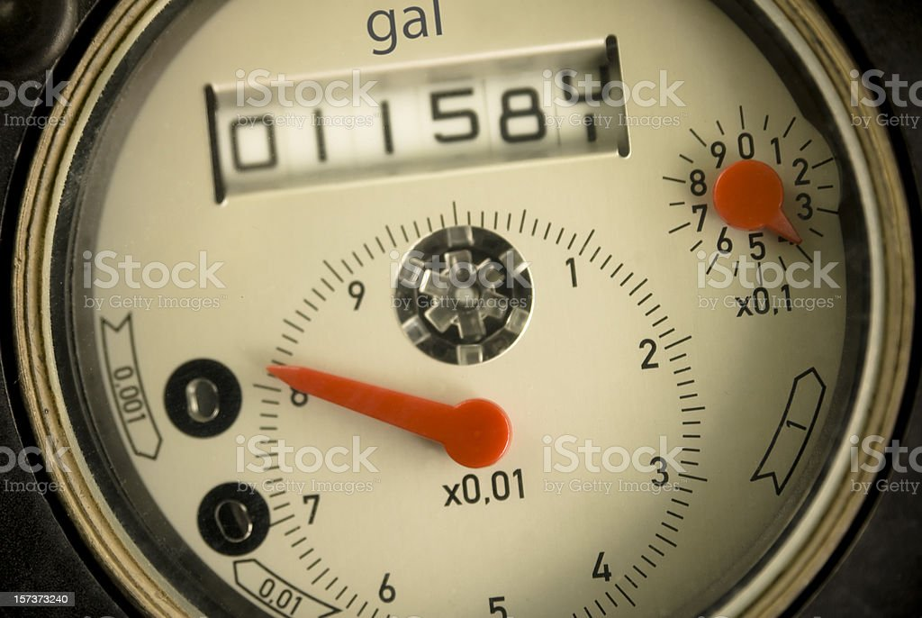 Face of Water Meter (Gallons version) stock photo
