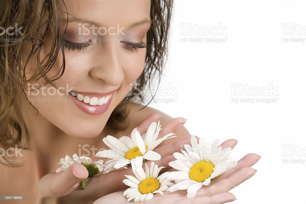 Face of woman with camomile royalty-free stock photo