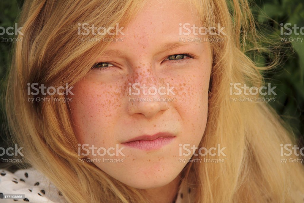 face of young girl stock photo