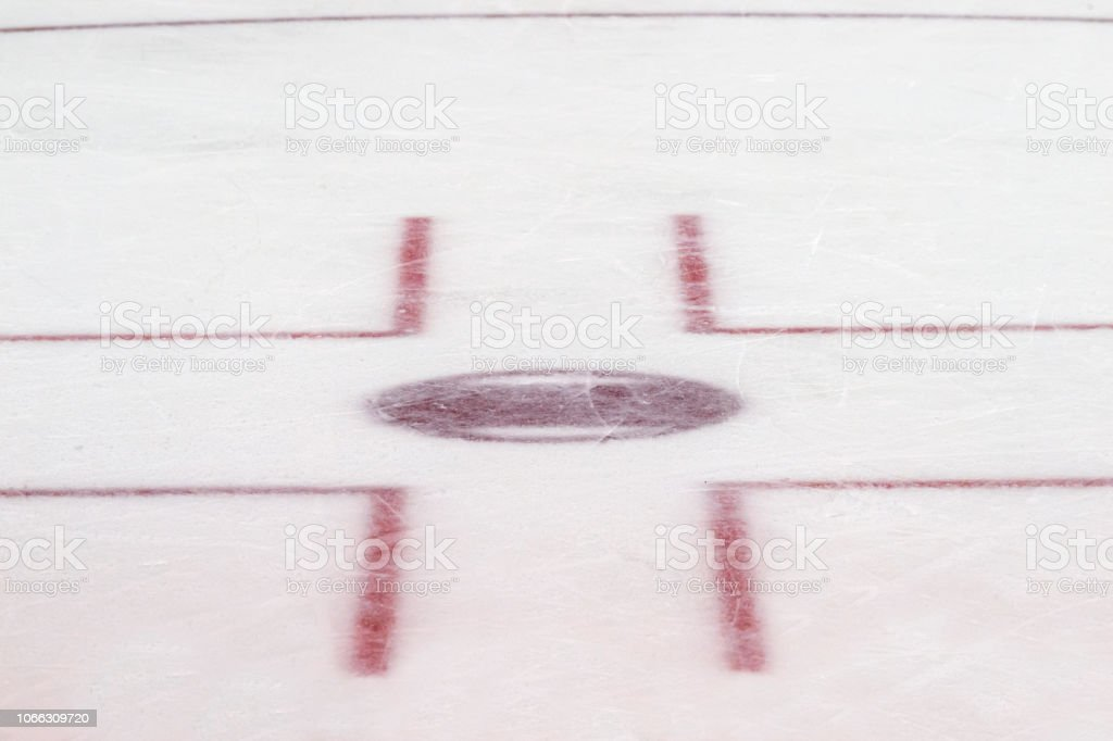 Face off circle, ice hockey. Winter sport.