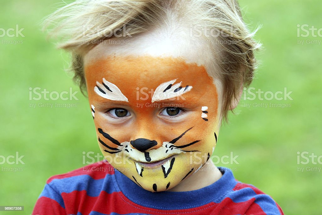 Face painted 5 year old boy royalty-free stock photo