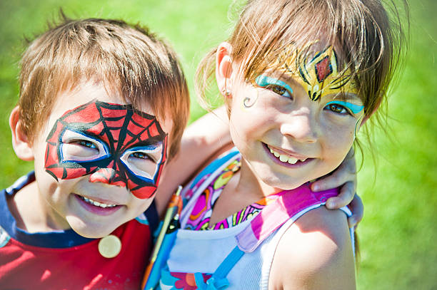 Face Painted Kids stock photo