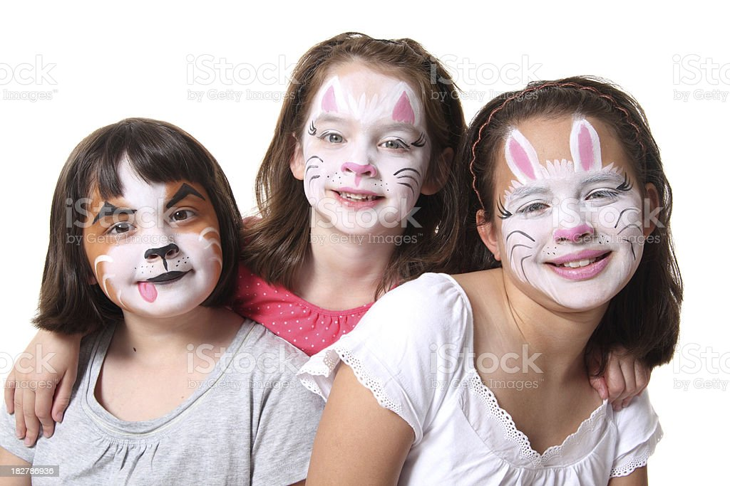 Face Painted Sisters royalty-free stock photo