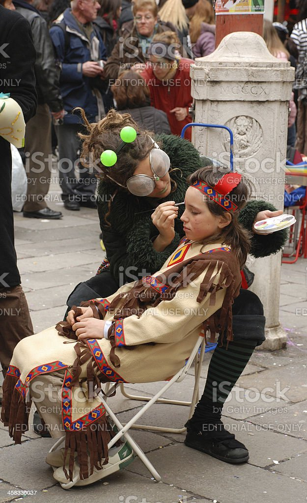 Face Painting at Venice Carnival royalty-free stock photo