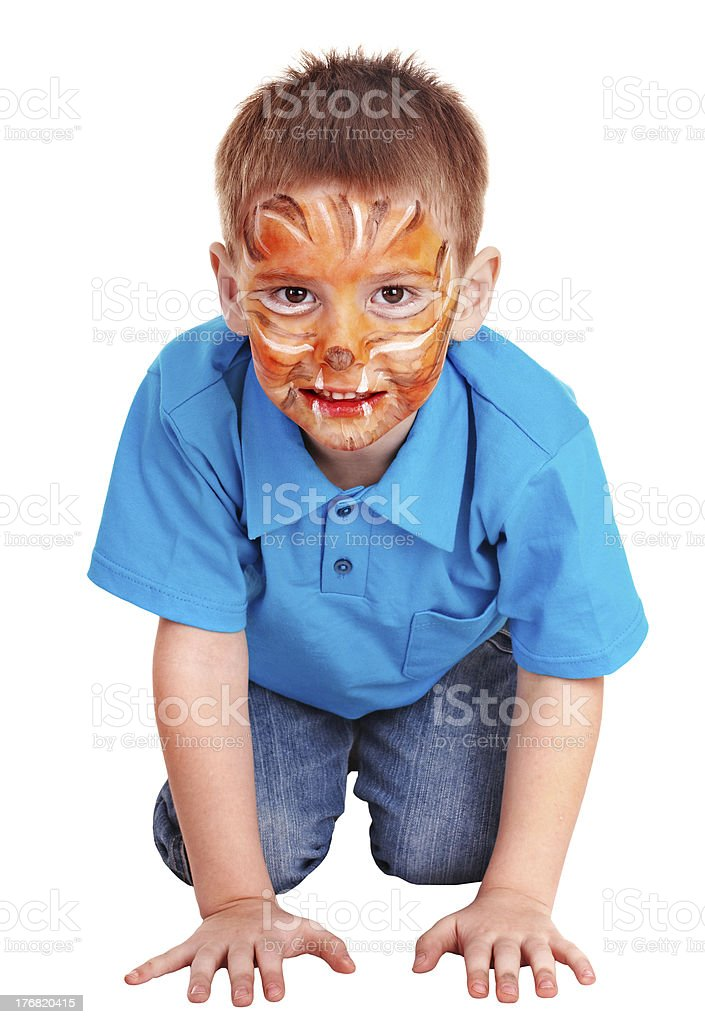 Face painting on little boy. royalty-free stock photo