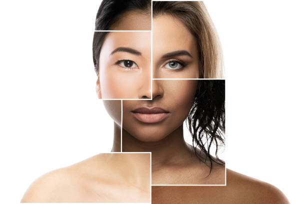 Face parts of different ethnicity women stock photo