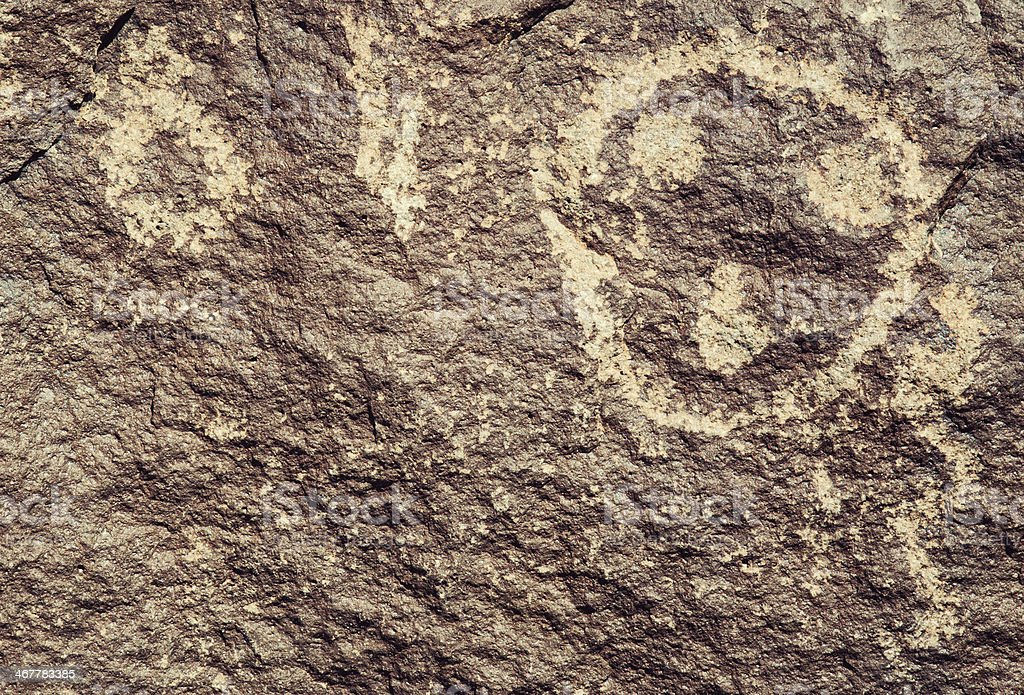 Face Pictogram - Petroglyph National Monument royalty-free stock photo