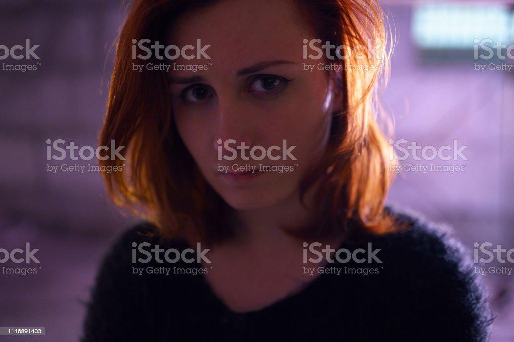 Face portrait close up of drug addiction redhead caucasian white...