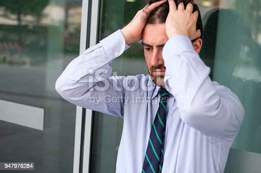 1181817161 istock photo Face portrait of desperate businessman after big trouble at work 947976284