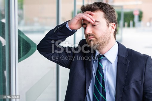 1181817161 istock photo Face portrait of desperate businessman after big trouble at work 947976306