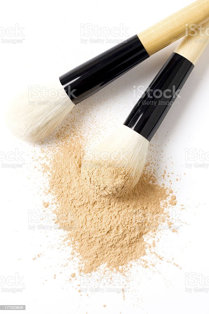 face powder and brush, cosmetic stock photo